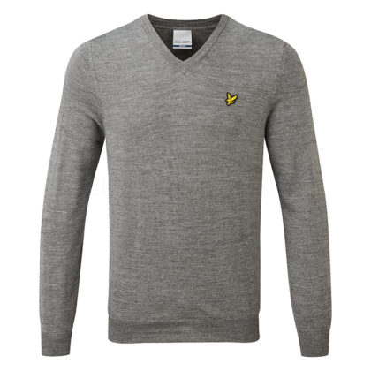 Lyle_Scott_SS19_V-Neck_Sweater_KN1040G-T28_Code_SWLYL019_Mid_Grey_Marl_Front